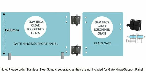 Standard Gate Kit  - 1100mm wide gate hinge/support panel + 900mm* wide gate (Covers 2m approx.)
