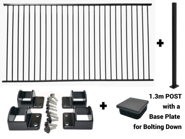 Discounted Australia Wide Pool Fence Package Deal with a Bolt Down Post. Black Aluminium Pool Fencing Package Deal by Fence Guru available in New South Wales, Victoria, South Australia, Perth and Queensland.