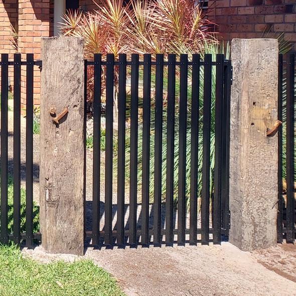 Vertical Slat Fence Gate - Black