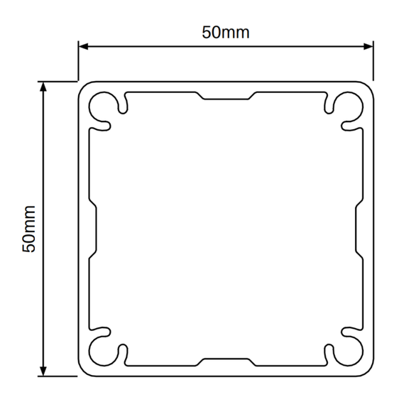 50x50mm x 2.4m Aluminium Fence Post, 1.8mm with 3mm Internal Ribs Wall Thickness.