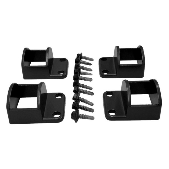 Fence Panel Fittings Set - 4 brackets with screws - Black