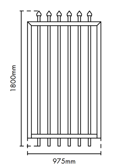 975mm wide x 1.8m high Aluminium Security Gate, Powder Coated Black.
