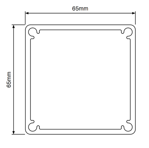 Base Plate suits 65x65mm SlatFence Post with 4 screw flutes.