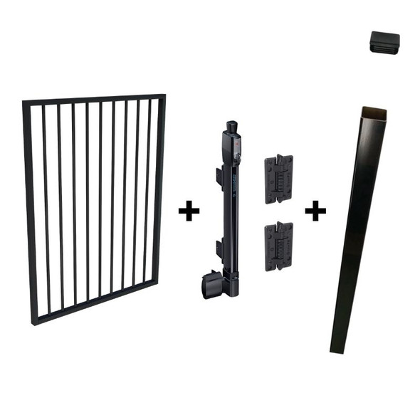 Pool Safe Gate Kit - CRAZY Package Deal - with latch post (2.1m) to concrete inground - Black