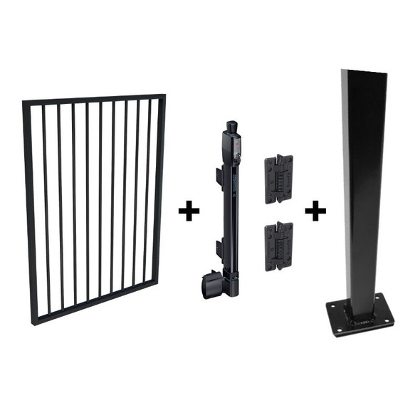 Pool Safe Gate Kit - CRAZY Package Deal - with flanged latch post (1.6m) to bolt down - Black