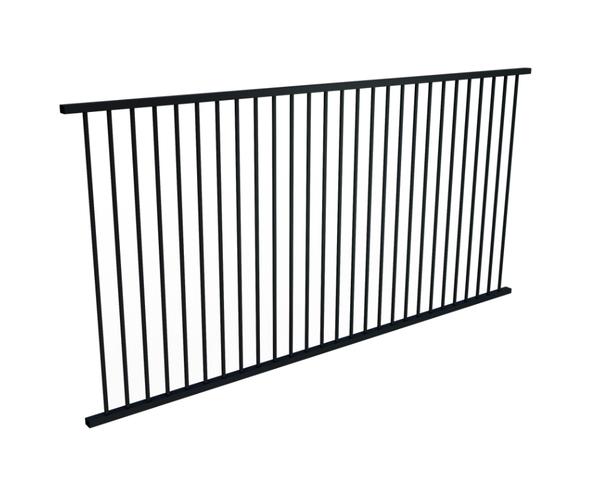 3m Long x 1.2m high Black Flat Top Pool Fence Panel.