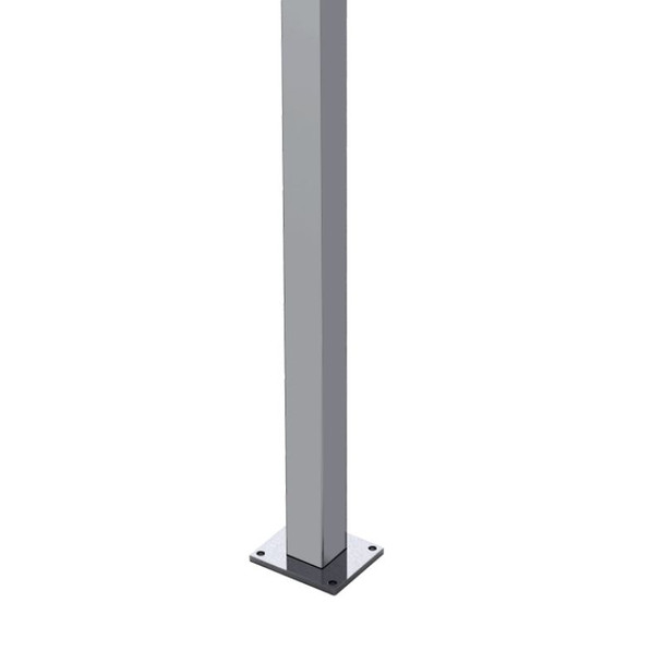 VERY HEAVY DUTY Polished Stainless Steel Post - Square 50.8mm - 1300mm - POST with Base Plate - Welded - SS316 POLISH (INCLUDES TOP CAP & DOMICAL COVER) - 2mm Wall Thickness