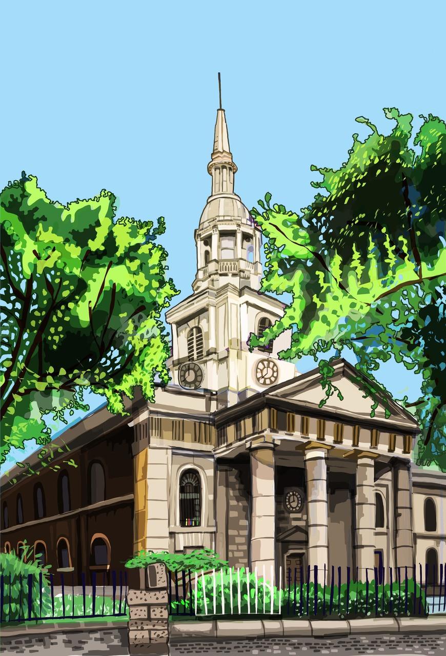 Shoreditch Church: St Leonard's Church, Shoreditch Art Print