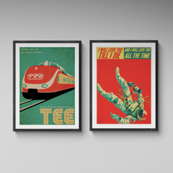 Retro Graphic Poster Twin Set by Indie Prints