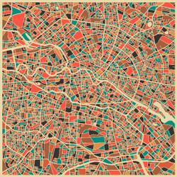 Berlin Street Map by Jazzberry Blue