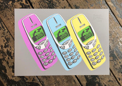 Year 2000 Mobile Phones (Pastel Triptych)