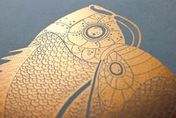 Two Koi Copper Print