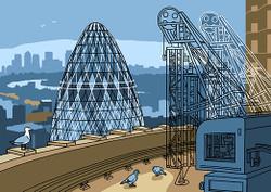 Gherkin and Canary Wharf