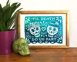 Day of the Dead Turquoise Skull Metallic Foil Print