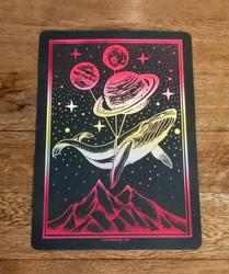 Handmade Two Tone Galaxy Whale foiled print