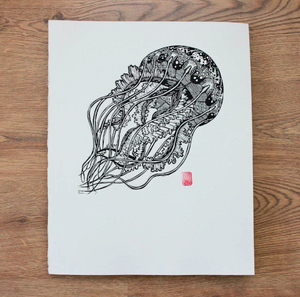 Jelly Fish Lino Print