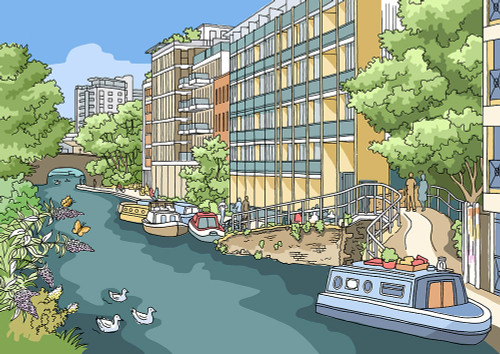 Regent's Canal from Kingsland Road - Limited Edition Print