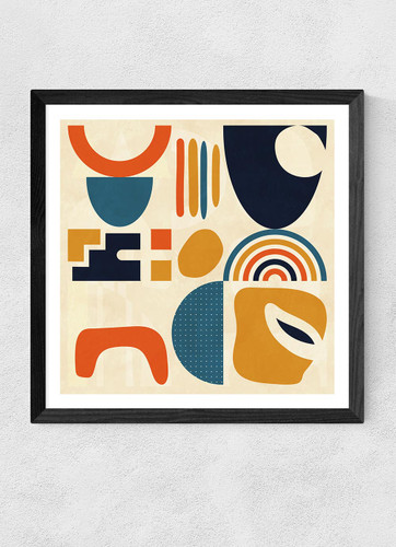 Abstract Shapes Autumn Colours Triptych