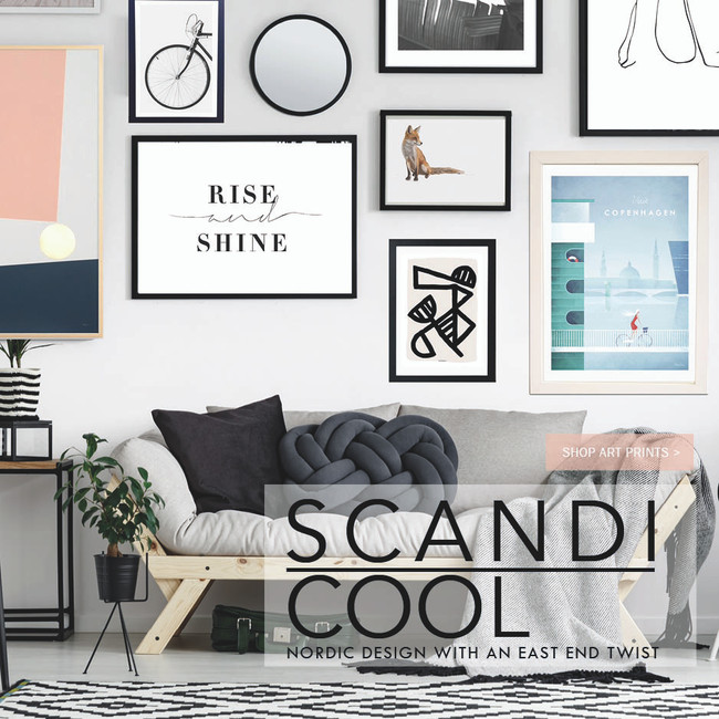 Organic, elegant shapes, modern type and gold finishes. Nordic design with an East End twist