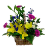 Picnic at Smithville Park:  Floral arrangement of yellow lilies, lavender carnations, and blue delphinium in a handled woven birch basket