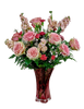 Hello Sweetheart:  arrangement of pink roses, pink stock, light and hot pink carnations, and seasonal greens, in a keepsake vase of pink crystal