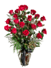 Classic Roses:  arrangement of long-stemmed roses with fresh seasonal greens and accent flowers, in a tall Ming glass vase, with ribbon trim