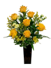 High Street Chic:  tall arrangement of yellow roses, solidago asters, and other yellow flowers, in a tortoise-shell glass vase