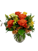 Sunset Over Strawbridge Lake:  Arrangement of orange and yellow roses, alstromeria, and solidago, in a clear glass vase