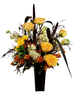 Howl at the Moon:  arrangement of purple millet, russet daisies, cream stock, and yellow roses, in a tall, dark glass vase