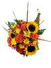 Autumn Blessings Cornucopia:  arrangement of orange roses, yellow sunflowers, and mums, with accents of wheat and cattail, in a traditional cornucopia basket.