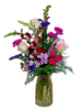 Long Tall Sally:  arrangement of burgundy snapdragons, pink roses, hot pink spray roses, and more, in a slender vase of pink faceted glass