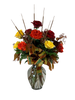 Fall, In Love:  Bouquet of autumn roses in shades of crimson, flame, and gold, with chocolate eucalyptus, pencil cat tails, and ribbon trim