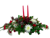 Winter Woodlands Centerpiece:   winter greens, pinecones, berries, red, and white flowers,  in a rustic birch container, with ribbon trim and a pair of red candles