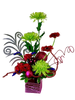 Cindy Lou, that's Who:  floral arrangement of green spider mums, red gerber daisies, and hot pink carnations, with glittered accents, in a shiny lavender cube
