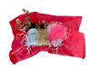 Ravishing Rose Spa Basket:  all-natural, rose-scented shower gel and lotion, presented with a mesh scrub and nail file, in a woven gift basket