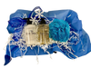 First Snow Rose Basket:  all-natural shower gel and lotion, presented with a mesh scrub and nail file, in a woven gift basket