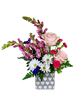 Heart to Heart - romantic floral arrangement of lavender snapdragons, pink roses,  white daisies, and hot pink mini-carnations, in a stylish cube decorated with white hearts