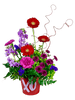 Sealed with a Kiss:  arrangement of red gerber daisies, lavender stock, lavender carnations, purple button mums, and green hydrangea, in a red metal planter decorated with a glittered kiss