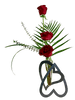 Heart of the Matter:  Three red roses with seasonal greens, in a modern heart-shaped bud vase