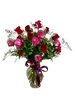 High Drama - arrangement of two dozen roses in ruby red and passionate purple in a clear glass vase, trimmed with red and purple ribbon