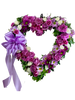 Lavender Heart Wreath - standing heart-shaped sympathy spray of lavender roses, white spray roses, purple daisies, and lavender carnations, accented with a lavender satin ribbon