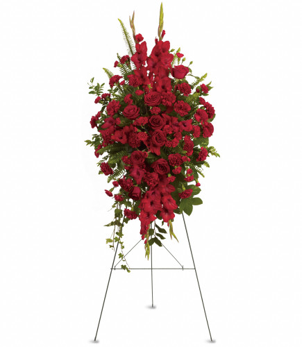 Deep in Our Hearts Standing Funeral Spray - oval shaped standing funeral spray of red gladioli, red roses, and red carnations, accented with fresh greens