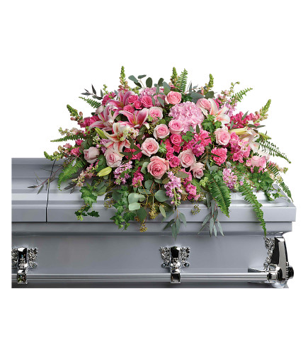 Beautiful Memories Casket Spray - pink casket spray of hydrangea, roses, and lilies