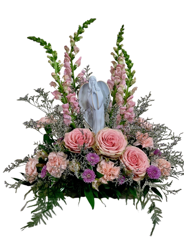 Madonna dei Fiori:  Sympathy flower arrangement of pink roses, pink snapdragons and purple mums, with a keepsake Blessed Mother figurine of porcelain bisque