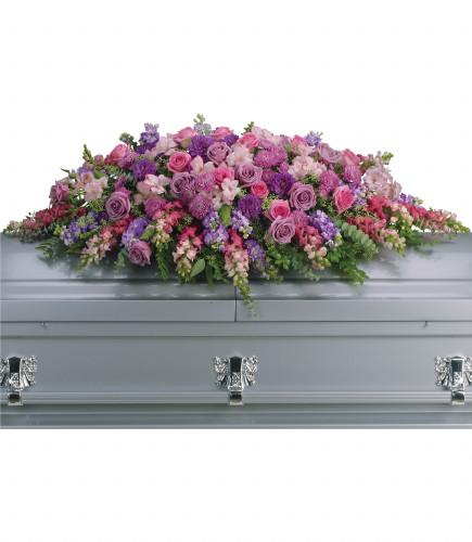 Lavender Tribute Casket Spray - floral casket spray of lavender and pink flowers including roses, snapdragons, and larkspur