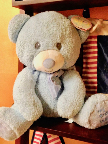 15-inch plush teddy bear in soft blue