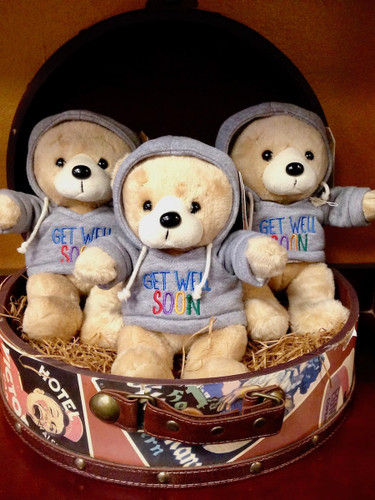 "Get Well Teddy Bear:  7-inch plush bear wearing a grey hoodie embroidered with the message, ""Get Well Soon"""