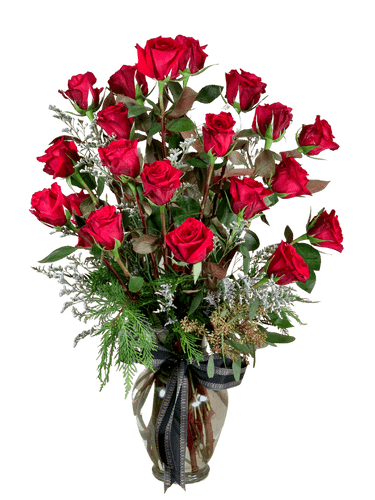 Classic Roses:  arrangement of two dozen long-stemmed roses with fresh seasonal greens and accent flowers, in a tall glass vase