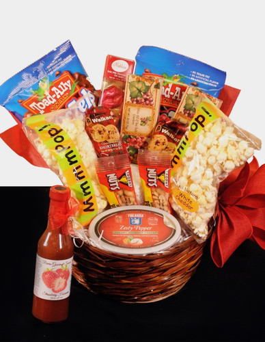 Sweet and Savory Gourmet Basket:  assorted sweet and savory snacks in a wicker basket