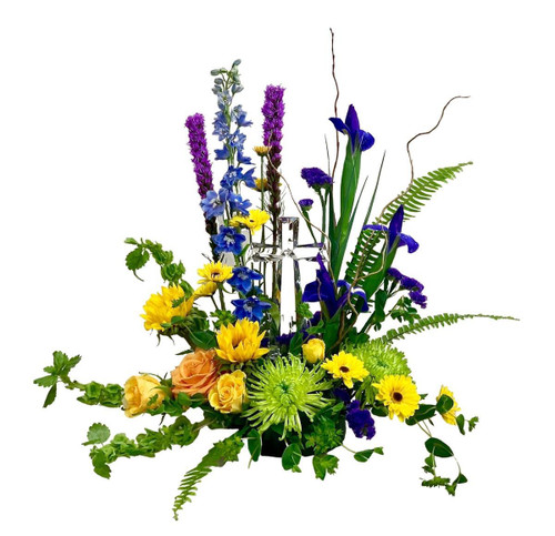 Garden of Blessings:  tribute arrangement of colorful flowers with a keepsake cross of crystal-clear lucite